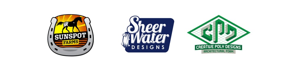 Logos Sunspot Farms, Sheer Water Desgins, Creative Poly Designs